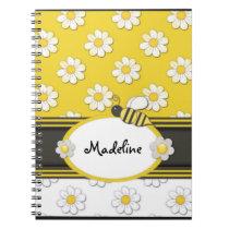 Yellow Daisy Bee Spiral Notebook