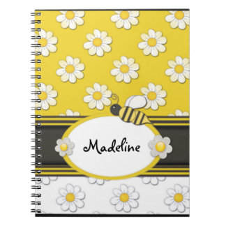 Yellow Daisy Bee Spiral Notebook