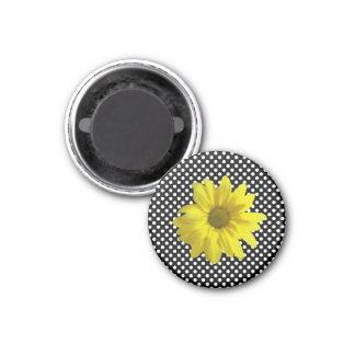 Yellow Daisy Black and White Polka Dots 1 Inch Round Magnet