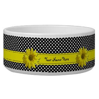 Yellow Daisy Black and White Polka Dots Bowl