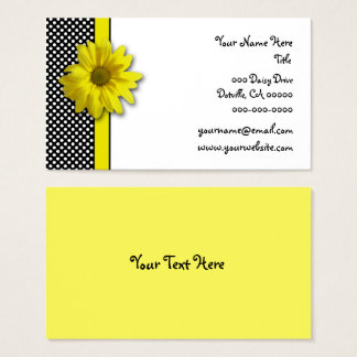 Yellow Daisy Black and White Polka Dots Business Card