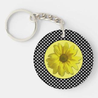 Yellow Daisy Black and White Polka Dots Double-Sided Round Acrylic Keychain
