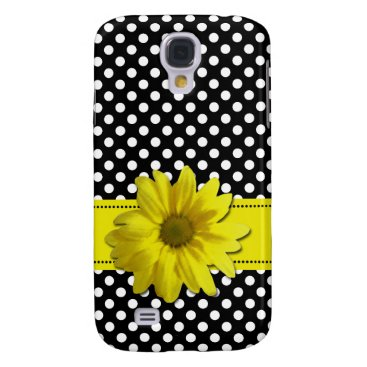 linda_mn Yellow Daisy Black and White Polka Dots Galaxy S4 Cover