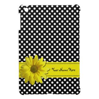 Yellow Daisy Black and White Polka Dots iPad Mini Cover