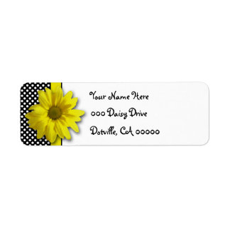 Yellow Daisy Black and White Polka Dots Label
