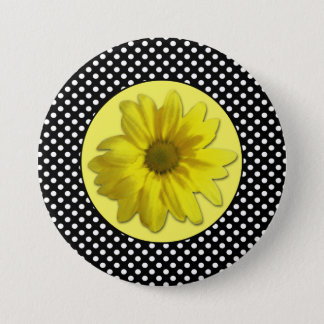 Yellow Daisy Black and White Polka Dots Pinback Button