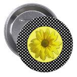 Yellow Daisy Black and White Polka Dots Pinback Button