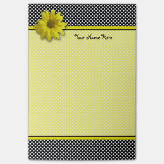 Yellow Daisy Black and White Polka Dots Post-it Notes