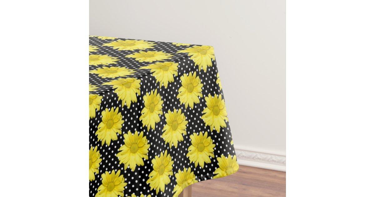 Yellow daisy black and white polka dots tablecloth zazzle for Black polka dot tablecloth