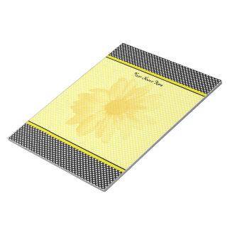Yellow Daisy Black and White Polkadots Notepads