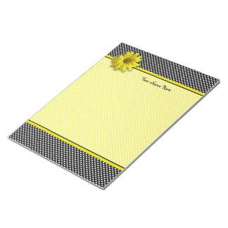 Yellow Daisy Black and White Polkadots Memo Notepad