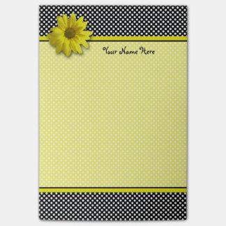 Yellow Daisy Black and White Polkadots Post-it® Notes