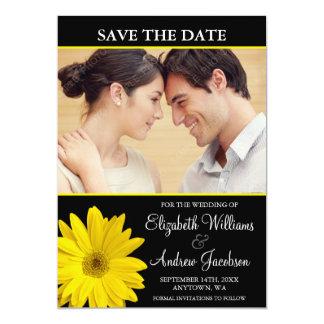 Yellow Daisy Black Photo Save the Date Custom Announcement