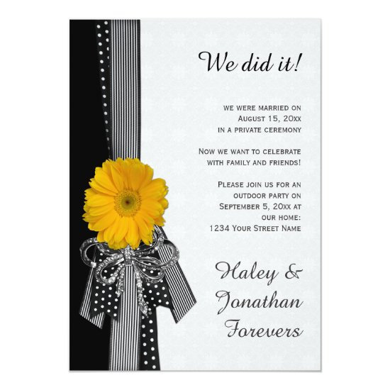Yellow Daisy Black White Damask Reception Only Invitation
