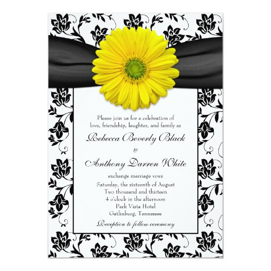 White Daisy Wedding Invitation: Yellow Daisy Black White Floral Wedding Invitation