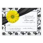 Yellow Daisy Black White Floral Wedding RSVP Personalized Announcements