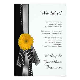 Yellow Daisy Black White Reception Only 5x7 Paper Invitation Card
