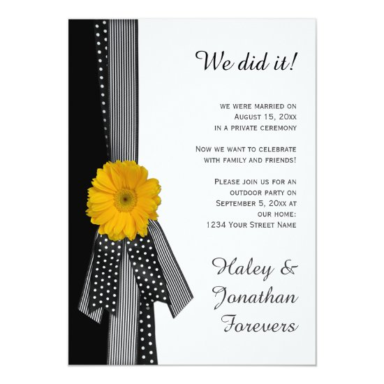 Yellow Daisy Black White Reception Only Invitation