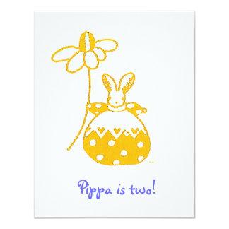 Yellow Daisy Bunny birthday invitation