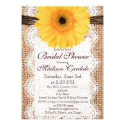 Yellow Daisy Burlap Bridal Shower Invitations