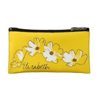 Yellow Daisy Chain Makeup Bag