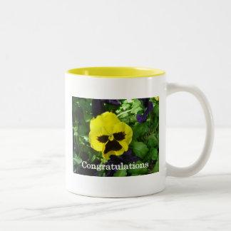 Yellow daisy congratulation card Two-Tone coffee mug