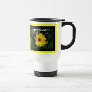 Yellow daisy Easter greeting 15 Oz Stainless Steel Travel Mug