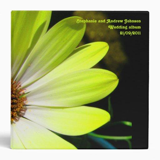 Yellow Daisy Flower Customizable Wedding Album Binders