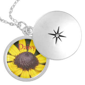 Yellow Daisy Flower Round Locket Necklace