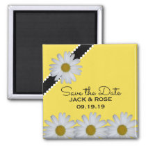 Yellow Daisy Flower Wedding Simple Save the Date Magnet