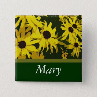 Yellow daisy flowers name button