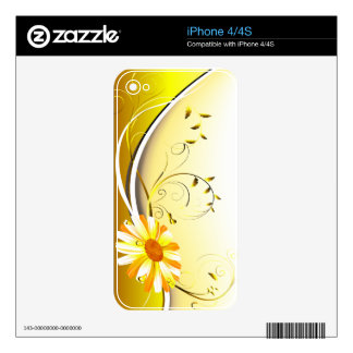 Yellow Daisy Flowers  Zazzle Skin Decals For The iPhone 4S