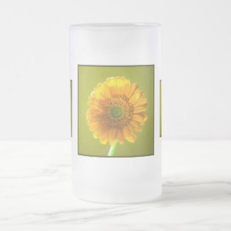 Yellow Daisy Gerbera Flower Frosted Glass Beer Mug