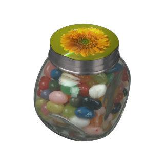Yellow Daisy Gerbera Flower Glass Candy Jar