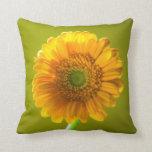 Yellow Daisy Gerbera Flower Throw Pillow
