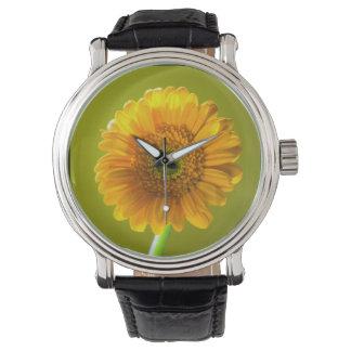 Yellow Daisy Gerbera Flower Wrist Watch
