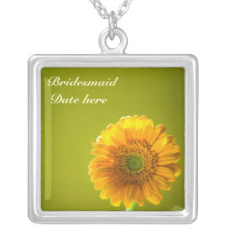 Yellow Daisy Gerbra Flower Bridesmaids Pendant