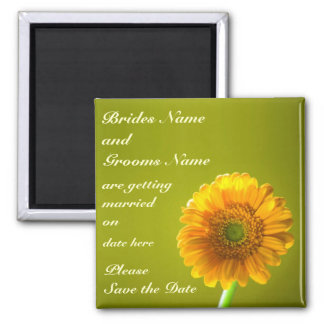 Yellow Daisy Gerbra Flower Save The Date 2 Inch Square Magnet