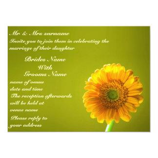 Yellow Daisy Gerbra Flower Wedding Invitation
