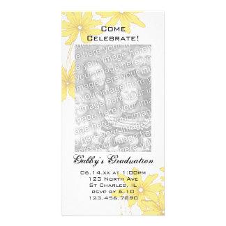 Yellow Daisy Graduation Party Invite Photo Card