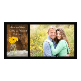 Yellow Daisy in Mason Jar Wedding Save the Date Card