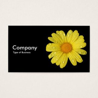 Yellow Daisy in the Rain - Black Business Card
