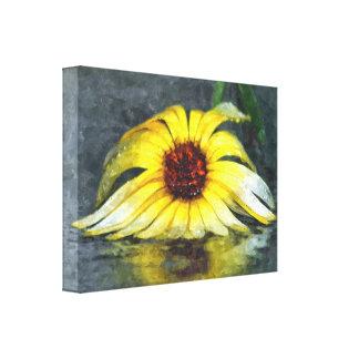 Yellow Daisy In The Rain Canvas Print