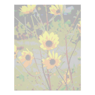 Yellow daisy ish flowers green background letterhead template