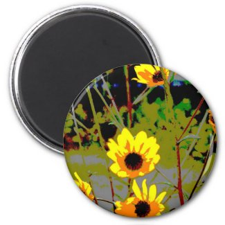 Yellow daisy ish flowers green background magnet