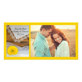 Yellow Daisy Lace Country Wedding Save the Date Card