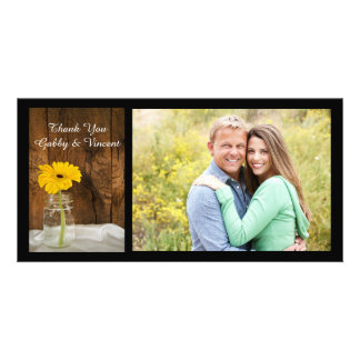Yellow Daisy Mason Jar Country Wedding Thank You Card