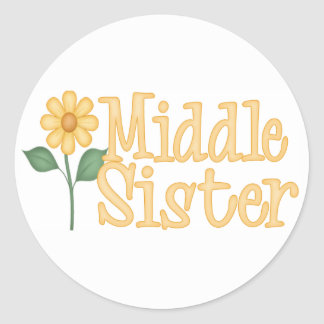 Yellow Daisy Middle Sister Classic Round Sticker