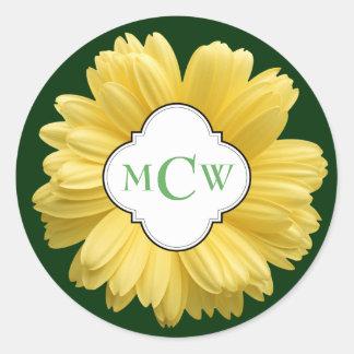 Yellow Daisy My Monogram Green Classic Round Sticker