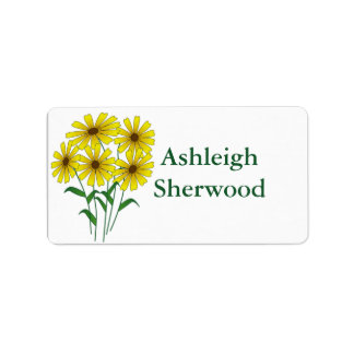 Yellow Daisy Name Label